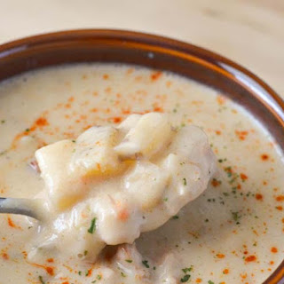 Creamy Pork and Cauliflower Potato Soup.