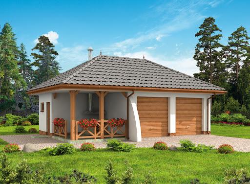 projekt G255 garaż dwustanowiskowy z pomieszczeniem gospodarczym i altaną szkielet drewniany