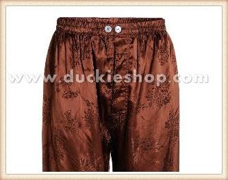 กางเกงใส่นอน ชุดนอนผู้ชายขายาวใส่สบาย ผ้าแพรจีนแท้ กางเกงแพรแท้ กางเกงแพรจีน เอวยางสีน้ำตาลเข้ม