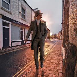 by BethSheba Ashe - Wedding Groom ( corbridge, wedding, smoking, street, suit, evening, groom, man, hat, top )