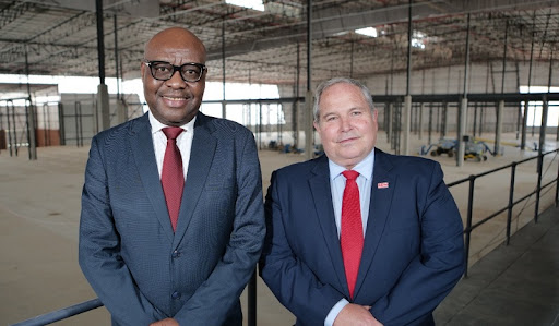Left to right – South African Department of Trade and Industry Deputy Minister,  Fikile Majola and Raymond Obermeyer, Managing Director of SEW-EURODRIVE Africa.