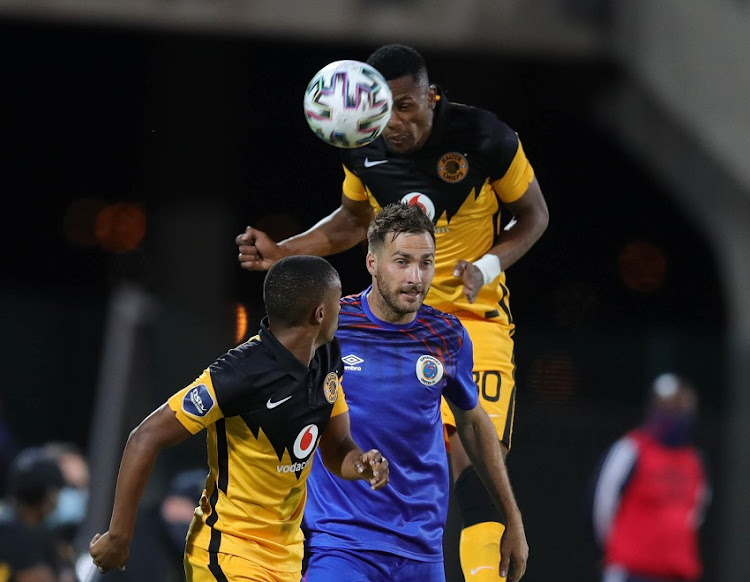 Bradley Grobler of Supersport United challenged by Siyabonga Ngezana of Kaizer Chiefs during the DStv Premiership match between Supersport United and Kaizer Chiefs at Lucas Masterpieces Moripe Stadium on December 15, 2020 in Pretoria, South Africa