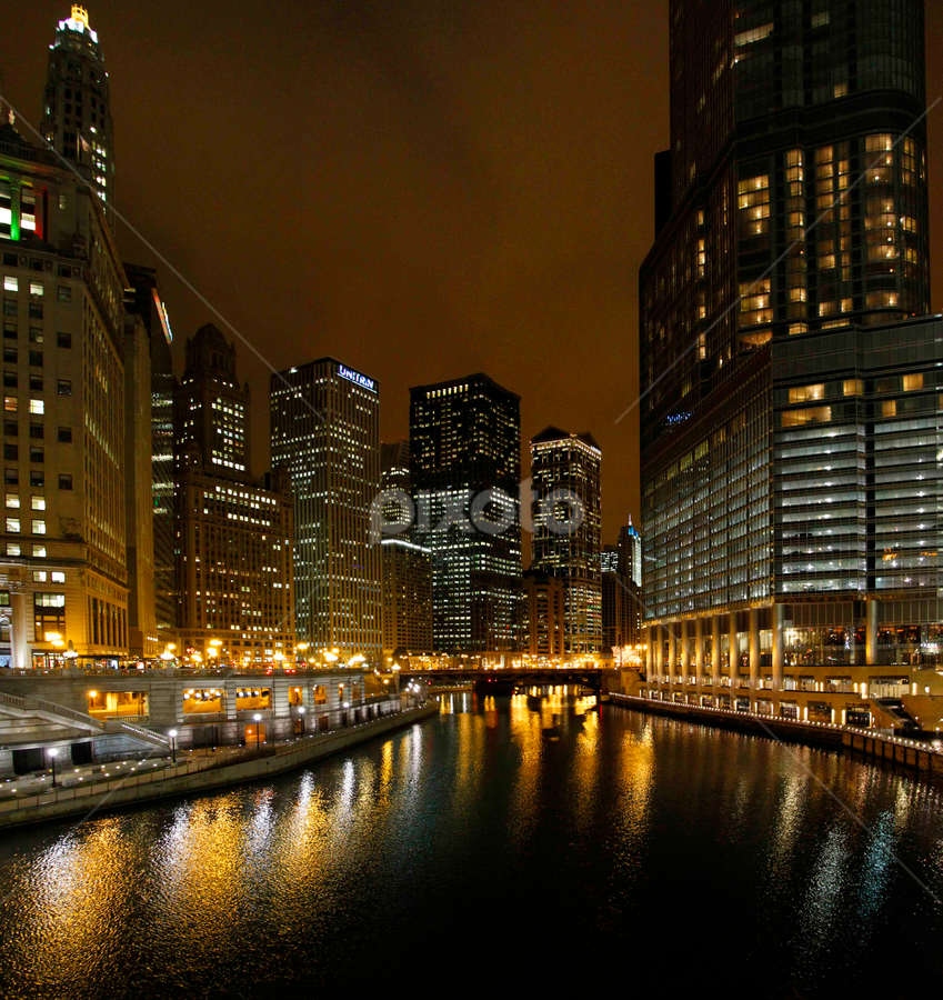 Wacker and Michigan by Gerard Pascazio - Buildings & Architecture Other Exteriors ( chicago river, night view, exterior, chicago illinois, west view, outside, water view, trump tower )