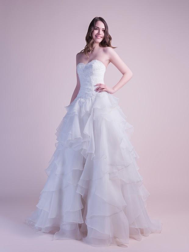 Robe de mariée Darlène, robe de mariée en organza, robe de mariée volants asymétriques