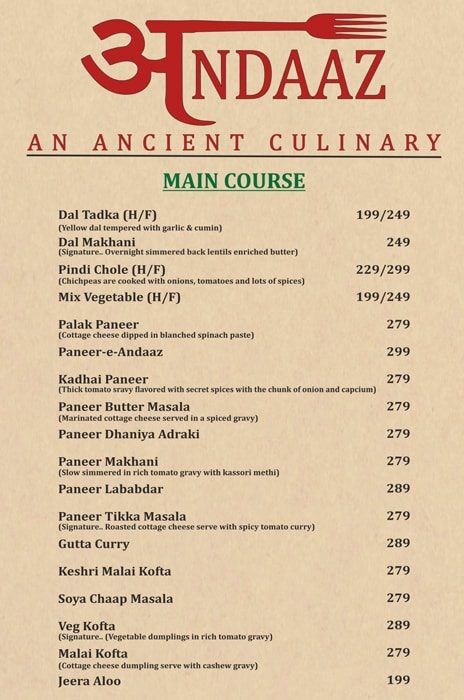 Andaaz An Ancient Culinary menu 6