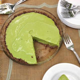 Avocado Lime Ice Cream Pie with Chocolate Coconut Crust.