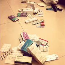 Photo: Lots of students leave behind their stashes of medications. It was all being kept in one messy bag, so all of us girls spent a rainy night inside doing some sorting.