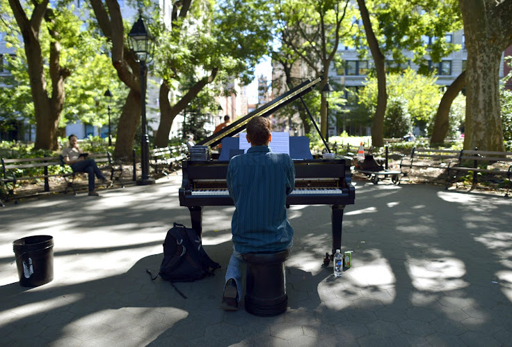 Colin Huggins, the piano player of Washington Square Park, is one of many musicians that regularly perform in the square.