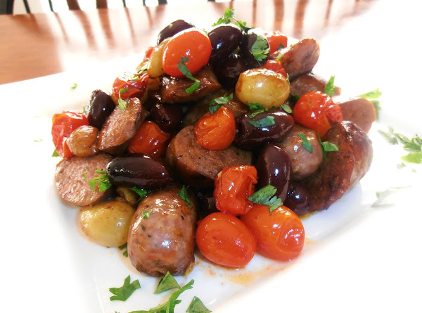 Italian Sausage, Tomatoes, Grapes & Olives Recipe
