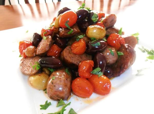 Italian Sausage, Tomatoes, Grapes & Olives Recipe
