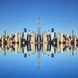 Metropolis by Katarina Farelius - City,  Street & Park  Skylines ( #newyork #skyline #metropolis #abstractcity #reflections )