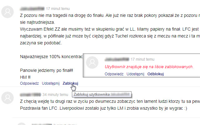 Realmadrid.pl - Blokowanie użytkowników