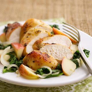 Apple-Glazed Chicken with Spinach.