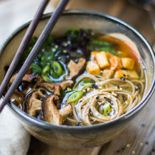 Miso and Soba Noodle Soup with Roasted Sriracha Tofu and Shiitake Mushrooms.