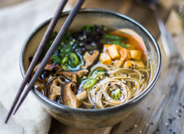 ... and Soba Noodle Soup with Roasted Sriracha Tofu and Shiitake Mushrooms