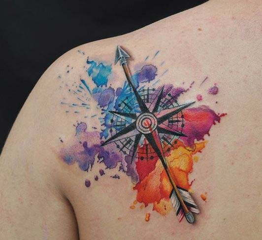 Best watercolor Nautical Star Tattoos Design with arrow on back