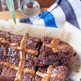 Chocolate, Choc Chip Easter Bun Brownie
