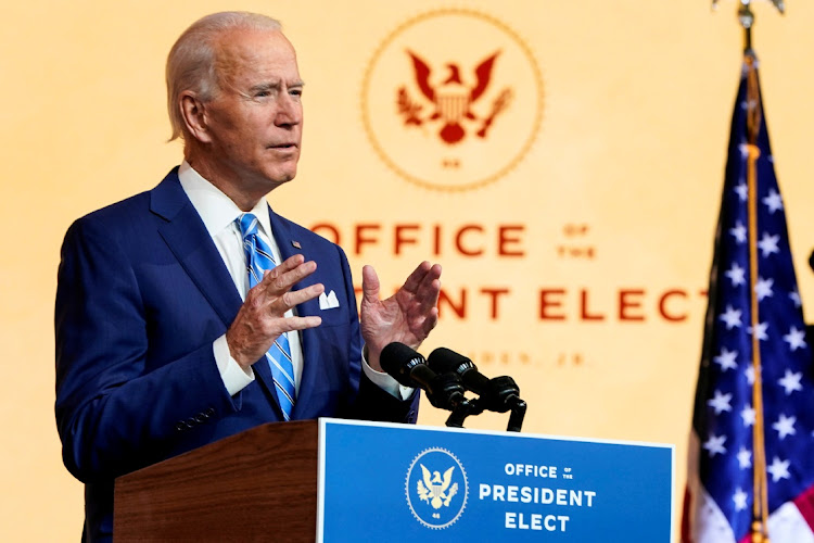 US President-elect Joe Biden on November 25 2020. Picture: REUTERS/JOSHUA ROBERTS
