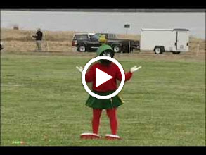 "Video: ""Marvin the Martian vs. The Killer Bee"" This was my Open Individual Freestyle for Berkeley Aug 2004. The kite has been set up to self-fly using 2 lines at roughly 90° and a tube tail. This was the first and only time the routine was ever performed. No practice, no dress rehearsal. Took first out of 2. People thought I was drunk due to my odd walking. They didn't know my helmet had come loose and I could barely see through the mask."