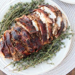 Garlic Herb Bacon Wrapped Turkey Breast.