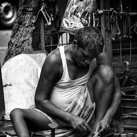 II EVERYTHING YIELDS TO DILIGENCE II by Bishnu Goenka - People Street & Candids ( work, street life, bnw, cobbler, black and white, shoes, street photography,  )
