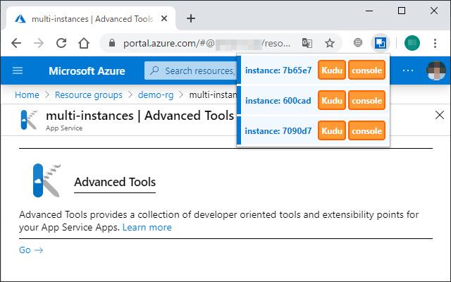 Instance selector for Azure App Service Kudu
