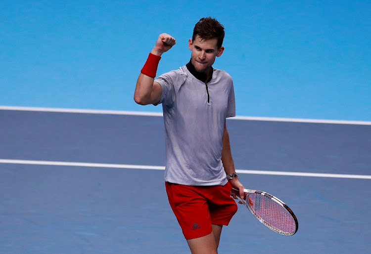 Austria's Dominic Thiem celebrates winning his group stage match against Japan's Kei Nishikori at the The O2, London, Britain - November 15, 2018. Picture: ACTION IMAGES/REUTERS/ANDREW COULDRIDGE