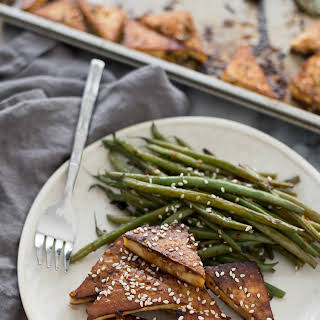 Sheet Pan Spicy Tofu and Green Beans.