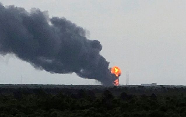 A blast destroys Elon Musk's SpaceX Falcon 9 rocket at Cape Canaveral in Florida, the US, on Thursday. Picture: REUTERS