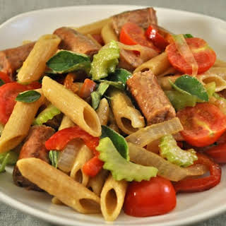 Pasta Salad with Sausage, Celery and Cherry Tomatoes.