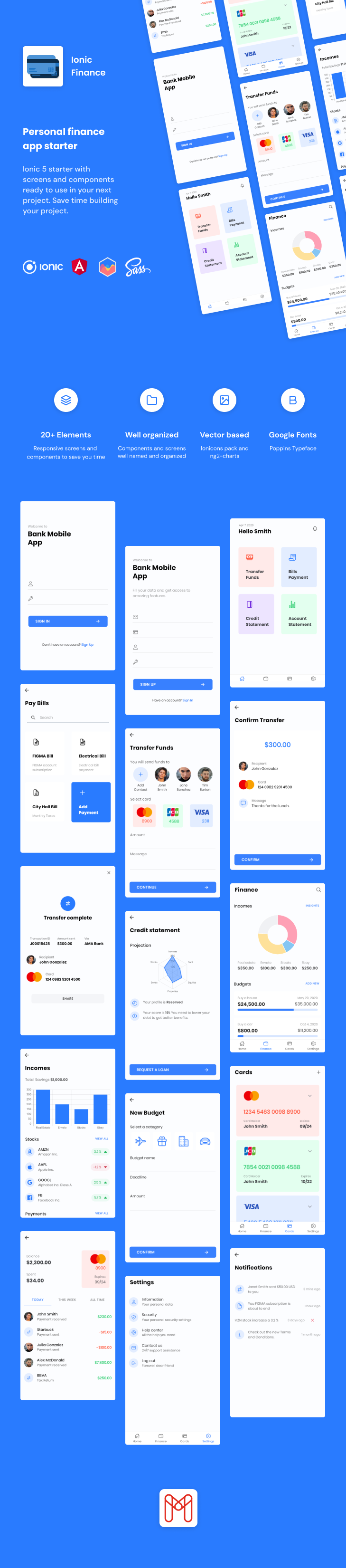 Ionic Finance | Ionic 5 | Angular | UI Theme | Template App | Starter App & Components - 1