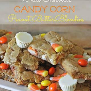White Chocolate Candy Corn Peanut Butter Blondies