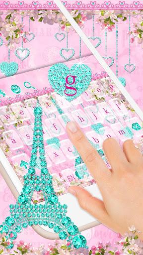 Diamond Eiffel Tower Pink Paris Keyboard  screenshots 2