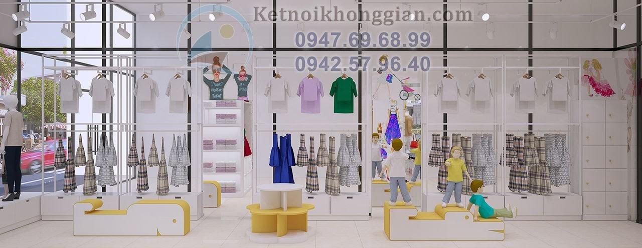 thiết kế shop mẹ và bé thoáng rộng