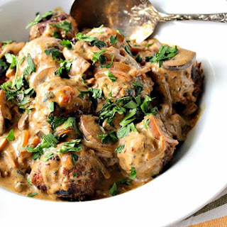 Hearty German Meatballs with Caraway Mushroom Cream Sauce.