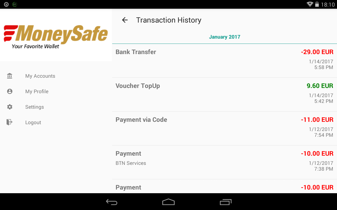 eMoneySafe Wallet- screenshot