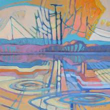 "Photo: Delta Spirit, acrylic on canvas 12"" x 12"" by Nancy Roberts, copyright 2014."