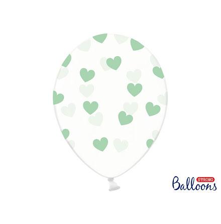 Ballonger - Crystal clear med minthjärtan.