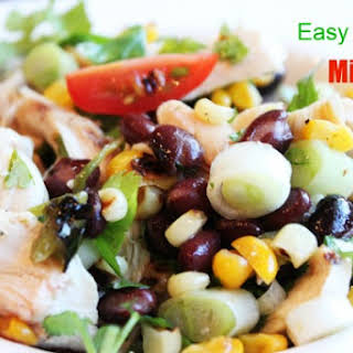 Chicken Salad! chicken, black beans, corn, jalapenos, tomatoes, cilantro, and lime.