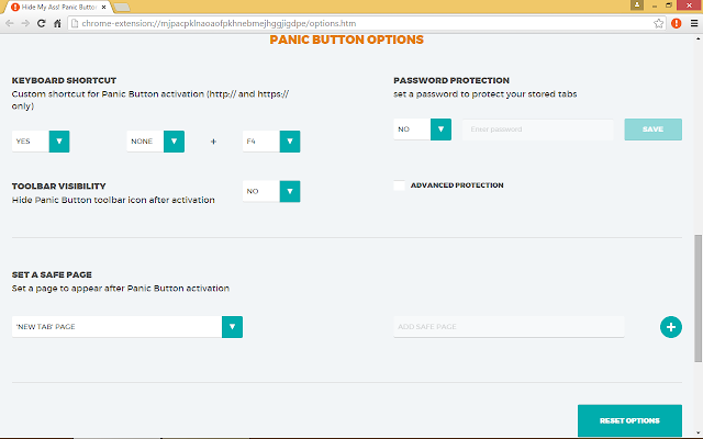 You can customize your settings for hiding your tabs on Chrome with Panic Button.