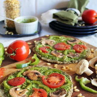 Raw Pizza With Spinach Pesto & Marinated Vegetables.