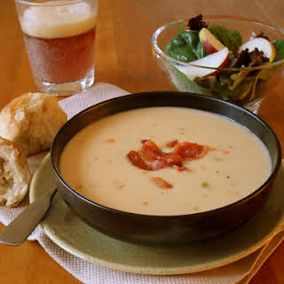 Cheddar-Ale Soup with Bacon Fat Croutons & Candied Bacon.
