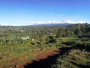 Photo: Near Marangu Village, Kilimanjaro behind clouds