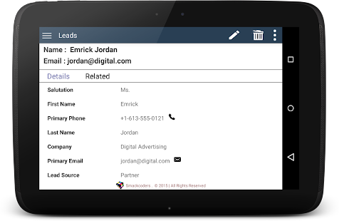PocketCRM for Vtiger- screenshot thumbnail