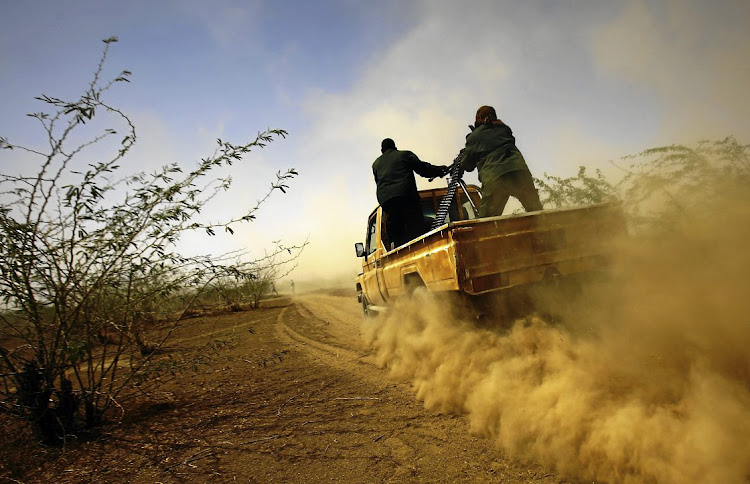 Sudanese border security members patrol the Sudan-Eritrea border for smugglers and illegal migrants near the  Sudanese border town of Kassala.  Picture:  ASHRAF SHAZLY/AFP