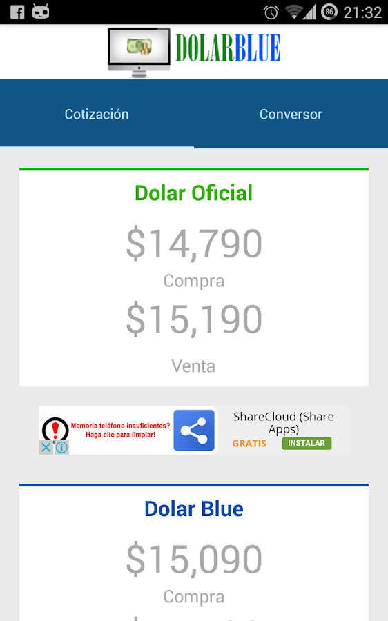 Dolar Argentina - Oficial-Blue- screenshot