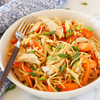 Easy One Pan Kung Pao Chicken Pasta.