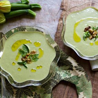 Chilled Zucchini Walnut Basil Soup