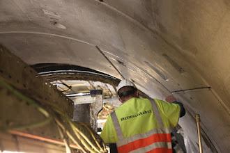 Photo: Og så ind forbi boremaskinen langs med de fine nye foringer i tunnelen mod Østerport.