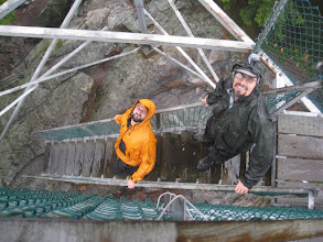 Photo: Heading down from the observation tower on Mount Ascutney. It was raining so there wasn't anything to observe. Photo by Dave Socky